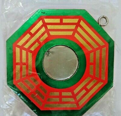 Feng Shui Bagua Mirror for hanging, Color Green and Red, 八卦, Small 4x4