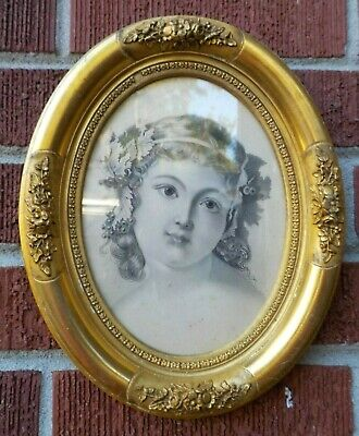 Antique Victorian Small LEMON GOLD Gilt Barbola OVAL MINIATURE Frame c1860s