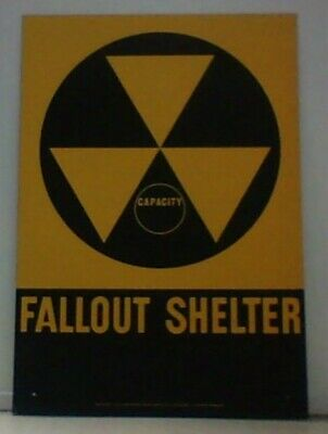 "Fallout Shelter Capacity Sign - 14""x20"" Aluminum Reflective"
