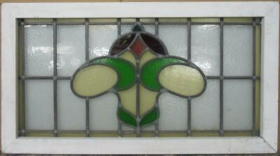 "OLD ENGLISH LEADED STAINED GLASS WINDOW TRANSOM Pretty Abstract 34.25"" x 18.75"""