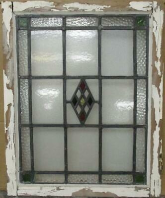 "MIDSIZE OLD ENGLISH LEADED STAINED GLASS WINDOW Bordered Diamond 20.25"" x 25.25"""