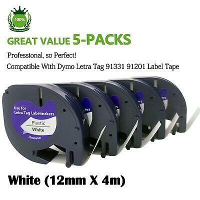 5PK 91331 Compatible with Dymo LetraTag LT-100H 91201 Plastic Label Tape 1/2''