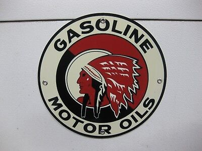 """Red Indian Chief Gasoline Motor Oil Gas Service Station Garage Metal Sign 12"""""""