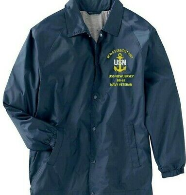 USS NEW JERSEY  BB-62   NAVY ANCHOR EMBROIDERED 2-SIDED SATIN JACKET