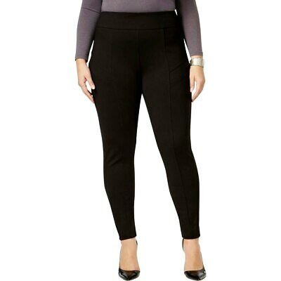 3X NY Collection Womens Plus Pleated Pull on Ponte Black Leggings Pants MSRP:$54