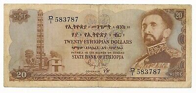 Ethiopia $20 20 Dollars ND 1961 P. 21 / 21a RARE Note F+