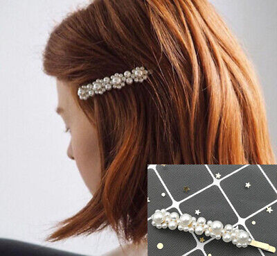 2019 Hot Korean Women Pearl Metal Hair Clip Hairband Bobby Barrette Hairpin