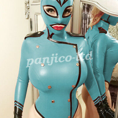 Latex Rubber Gummi Cool Black and Light Blue Hooded Catsuit Bodysuit Size S~XXL