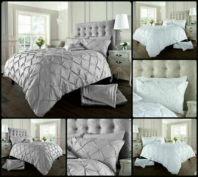 Pintuck Pleated Duvet Cover Quilt Covers Poly Cotton Bedding Sets Pillow Cases