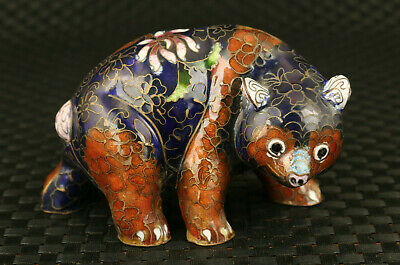 unique chinese old cloisonne beautiful cat statue figure collectable decoration