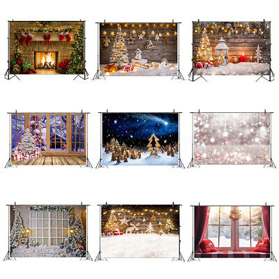 Christmas Fireplace Snow Wood Wall Tree Backdrop Photography Background Prop NZ