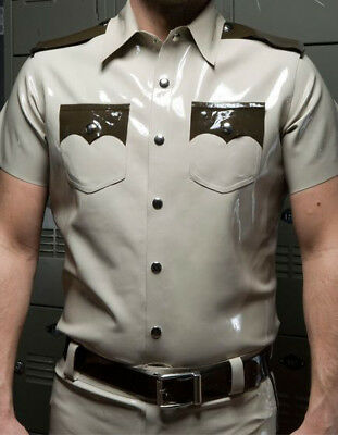 Latex Uniform 100% Rubber Gummi Bodysuit Handsome White Policeman Cosplay S-XXL