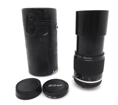 Nikon Nikkor lens 200 mm MF f4 No 904533 front and back cover bag id005