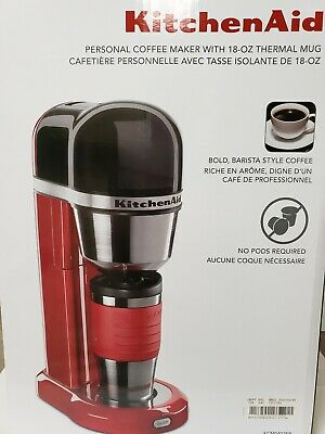 Home Kitchen Aid Single Serve Thermal Mug Coffee Maker 18-Oz Design Modern Red