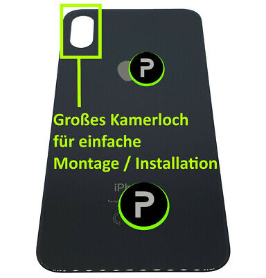 iPhone X Backcoverglas - Akkudeckel - BIG HOLE ✔️GROßES KAMERALOCH ✔️SCHWARZ
