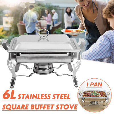 Cooks 6L Food Warmer Buffet Server Chafing Dish Square Single Tray Party Server
