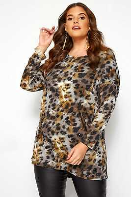 Yours Clothing Women/'s Plus Size Red Leopard Print Extreme Dipped Hem Top