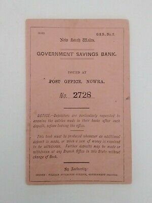 New South Whales Government Savings Bank Book 1909 Nowra