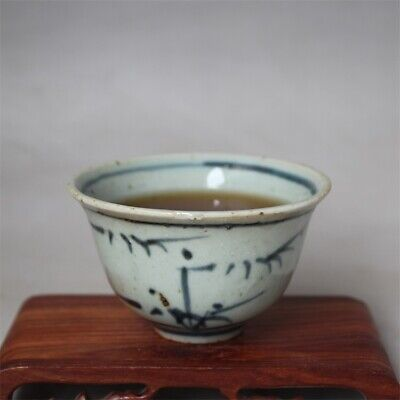 """Old Chinese Blue and white Porcelain ming Dynasty painting bamboo tea cup 3.1"""""""