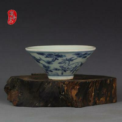 """Chinese Blue and white Porcelain ming Dynasty deer crane Bamboo hat tea cup 3.1"""""""