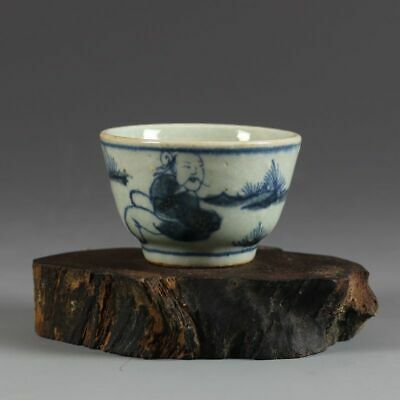 """Antique Old Chinese Blue and white Porcelain ming Dynasty elderly tea cup 3"""""""