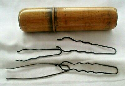 Beautiful  Antique Large Treen Needle Case. . 14 Cms Long.contains Vict. Hairpin