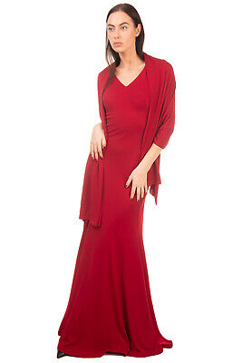 RRP €320 MUSANI COUTURE Evening Trumpet Gown With Scarf Size IT 42 S Rhinestoned