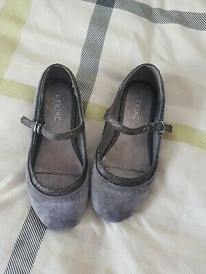 Next Girls Size 11 Grey Silver Buckle Shoes
