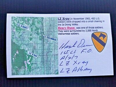 """La Drang Lz X Ray"" Henry Dunn Autographed 3X5 Index Card"