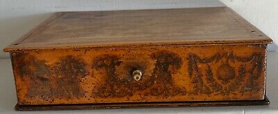 Antique Early 19C Penwork Box With Drawer
