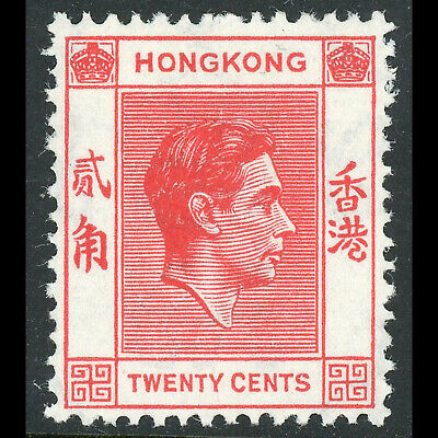 HONG KONG 1938-52 20c Scarlet Vermilion SG148 Fresh Lightly Hinged Mint. (WE498)