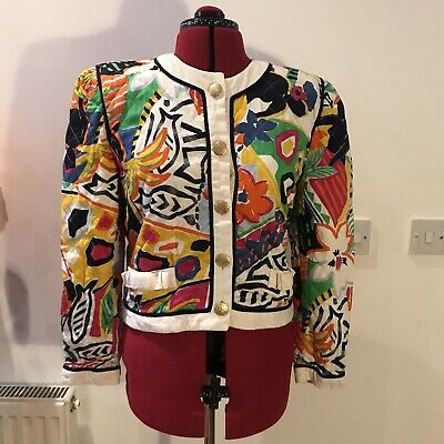 Vintage 80s Escada margaretha Ley Quilted Jacket Colourful 40 10 12