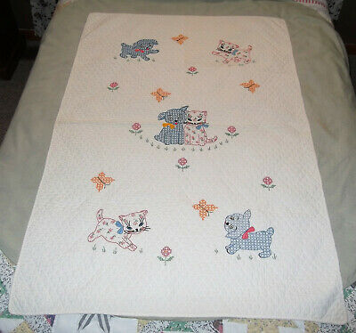 Vtg Hand Embroidered Cross Stitched Baby Crib Quilt Coverlet Kitten & Puppy