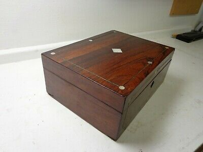 Antique Rosewood & Mother Of Pearl Stationery Box - Jewellery, Sewing, Treasures
