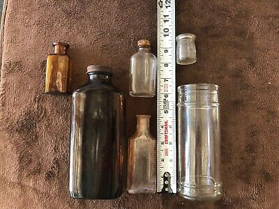 Lot Of (6) Old Medicine Apothecary Bottles -- Vintage Medicine Bottles