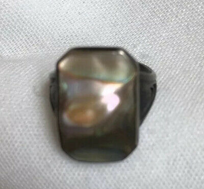 Antique Ring Abalone Sterling Silver Art Deco