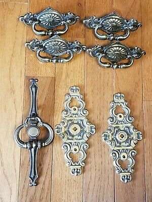 Mix Lot Of Antique Brass Hardware  Drawer  Cabinet Pulls Parts/Repair