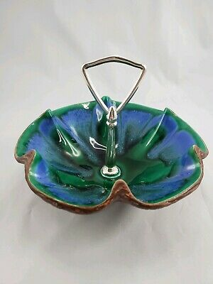 Sequoia Tidbit Candy Nut Dish Handled California Pottery 610 USA Green Blue