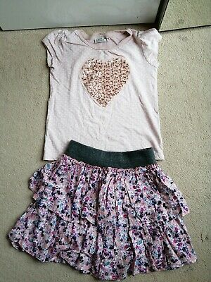 Girls Set Skirt Mango & Next Top, T-SHIRT VGC SIZE 6-7 years