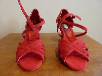 Red Suede Tango/Latin Dance Shoes