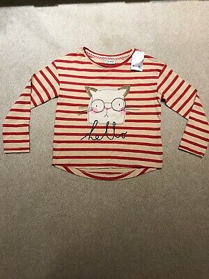 Brand New With Tags From Next Girls Striped Long Sleeve Top Cat Design Age 7