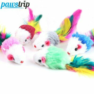 Soft Fleece False Mouse Cat Toys Colorful Feather Funny Playing Toys 10Pcs/lot