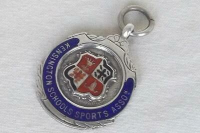 A Fine Antique Sterling Silver & Enamel Watch Chain Fob Medal Birmingham 1922.