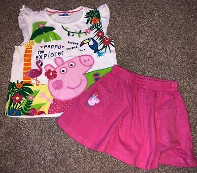 Peppa Pig Top And Skirt Pink Summer Age 2-3 Years