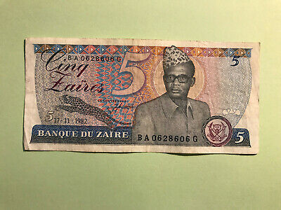 Banknote 5 Zaires from Zaire