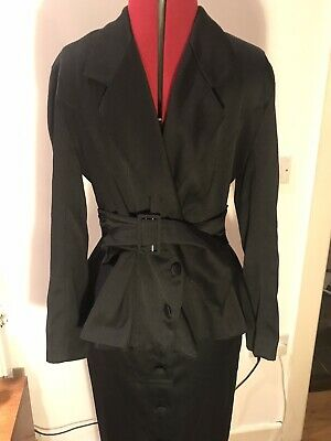 Vintage Wallis Black Skirt Suit Jacket Pencil 40s 80s 10