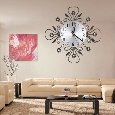 Vintage Metal Art Mute Wall Clock Crystal Large Wall Watch Clock Home Decoration