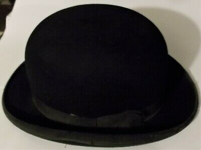 "Vintage Battersby of London Gents Black Bowler Hat Small 6"" x 7.5"""