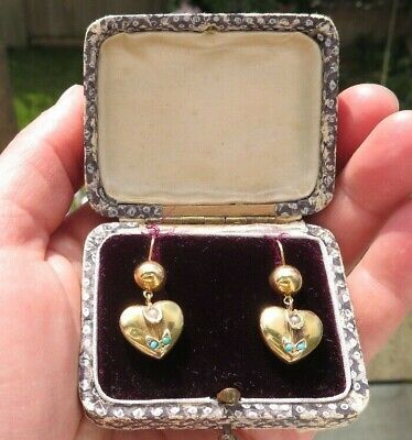 Antique Victorian Seed Pearls, Turquoise Forget Me Not Heart Gold Earrings