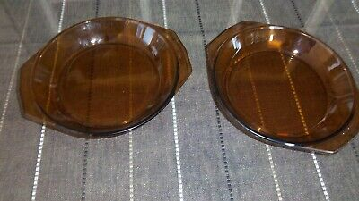 2 Vintage Arcopal Casserole Dishes. Clear Glass. Amber Color. Made in France---A
